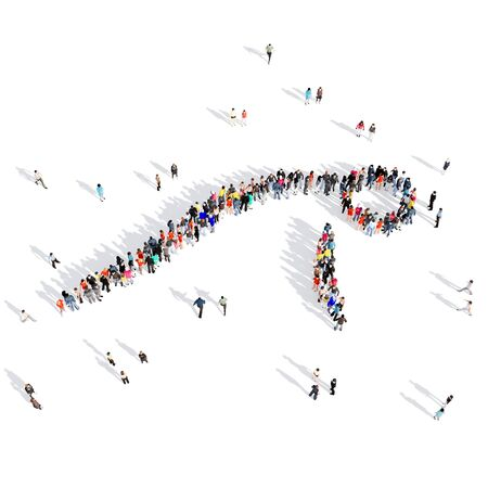 businessteam: Large and creative group of people gathered together in human shape , push-ups, competition, sport. 3D illustration, isolated against a white background.