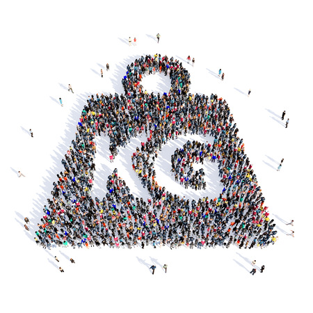 portly: Large and creative group of people gathered together in the shape of a weight, kilogram, images. 3D illustration, isolated, white background. Stock Photo