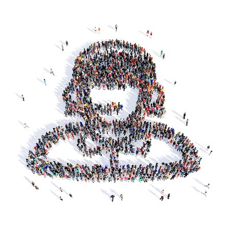 consultant: Large and creative group of people gathered together in the shape of consultant image. 3D illustration, isolated, white background.