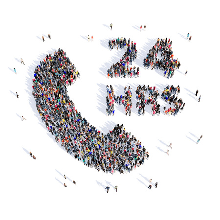 difficult lives: Large and creative group of people gathered together in the shape of a handset, hour consultation, pictures. 3D illustration, isolated, white background.
