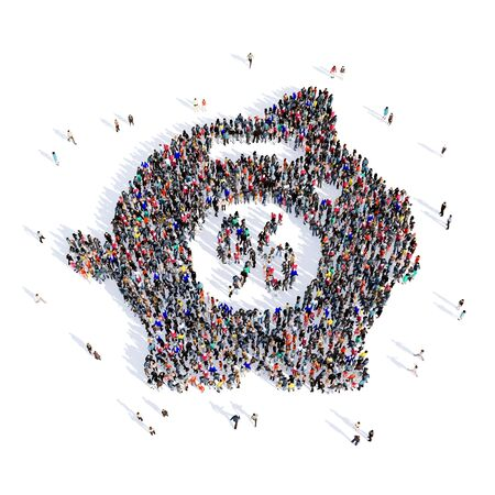forme: groupe Grand et créatif des personnes rassemblées sous la forme d'une boîte d'argent. 3d illustration, isolé, fond blanc. Banque d'images