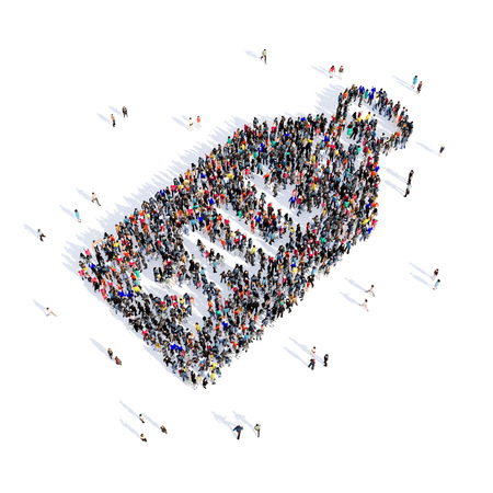shop keeper: Large and creative group of people gathered together in the shape of tag, selling , image. 3D illustration, isolated, white background.