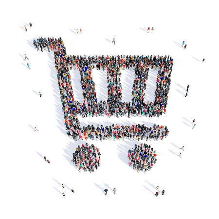 handcart: Large and creative group of people gathered together in the shape of a handcart image. 3D illustration, isolated, white background.