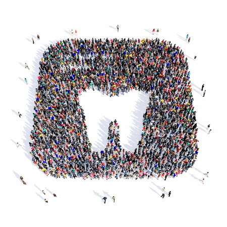 Large and creative group of people gathered together in the shape of a tooth, dentistry, image. 3D illustration, isolated, white background. Stock Photo