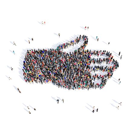 people  male: Large and creative group of people gathered together in the shape of a hand in a cast, medicine, image. 3D illustration, isolated, white background.