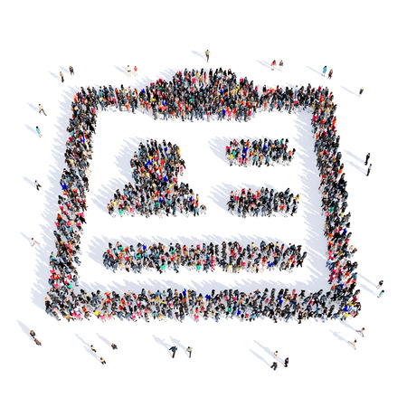 supportive: Large and creative group of people gathered together in the shape of a questionnaire, medicine, image. 3D illustration, isolated, white background.