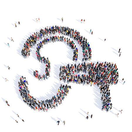 Grote en creatieve groep mensen bijeen in de vorm van het oor, oor arts, het ziekenhuis, geneeskunde, afbeelding. 3D-illustratie, geïsoleerd tegen een witte achtergrond.