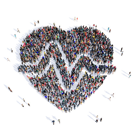 anatomically: Large and creative group of people gathered together in the shape of heart, cardio, medical, image. 3D illustration, isolated against a white background. Stock Photo