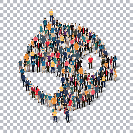A group of people in the form of a bird , transparent,   isometrick , web infographics concept  illustration of a crowded square, flat 3d. Crowd point group forming a predetermined shape. Creative people.Transparency grid. Vector Illustration. Stock vecto Vettoriali