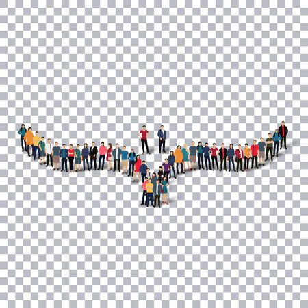 mimetic: A group of people in the form of a bird , transparent,   isometrick , web infographics concept  illustration of a crowded square, flat 3d. Crowd point group forming a predetermined shape. Creative people.Transparency grid. Vector Illustration. Stock vecto Illustration