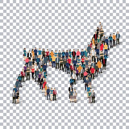 A group of people in the form of a wolf  ,web infographics concept vector illustration of a crowded square, flat 3d. Crowd point group forming a predetermined shape. Creative people.Transparency grid - Vector Illustration. Stock vector.3D illustration.
