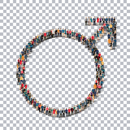 A group of people in the form of male sign , transparent,   isometrick , web infographics concept  illustration of a crowded square, flat 3d. Crowd point group forming a predetermined shape. Creative people.Transparency grid. Vector Illustration. Stock ve Illustration