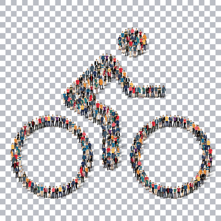 A group of people in the form of a cyclist, sport ,  isometrick , web infographics concept  illustration of a crowded square, flat 3d. Crowd point group forming a predetermined shape. Creative people.Transparency grid. Vector Illustration. Stock vector.3D Illustration