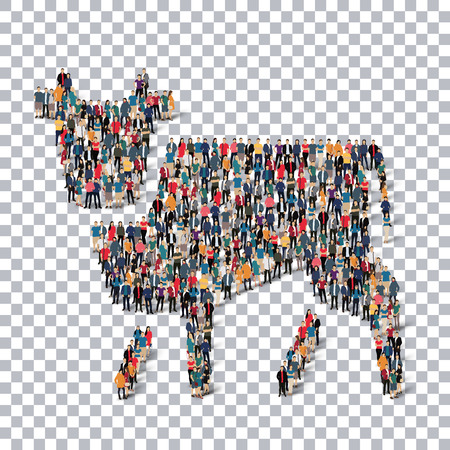illustrati: A group of people in the form of a cow ,  isometrick , web infographics concept  illustration of a crowded square, flat 3d. Crowd point group forming a predetermined shape. Creative people.Transparency grid. Vector Illustration. Stock vector.3D illustrati