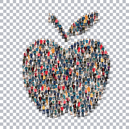 produce departments: A group of people in the form of apple, fruit,, isometrick , web infographics concept  illustration of a crowded square, flat 3d. Crowd point group forming a predetermined shape. Creative people.Transparency grid. Vector Illustration. Stock vector.3D illu