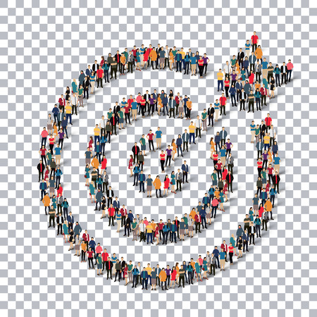 accuracy: Isometric set of styles, target  , web infographics concept  illustration of a crowded square, flat 3d. Crowd point group forming a predetermined shape. Creative people. - Vector Illustration. Stock vector.3D illustration.Transparency grid . Illustration