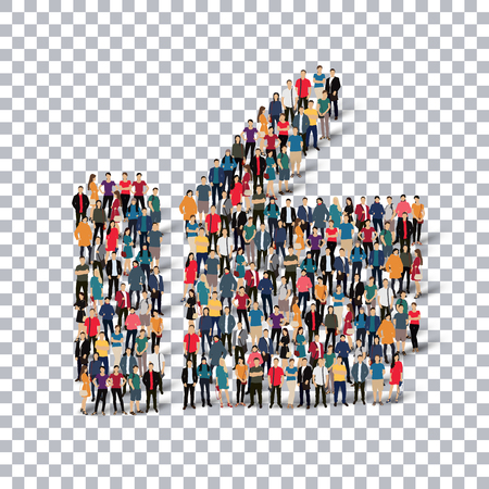 Isometric set of styles, like , web infographics concept  illustration of a crowded square, flat 3d. Crowd point group forming a predetermined shape. Creative people. - Vector Illustration. Stock vector.3D illustration.Transparency grid . Illustration