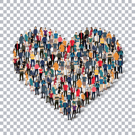disposition: Isometric set of styles, heart  , web infographics concept  illustration of a crowded square, flat 3d. Crowd point group forming a predetermined shape. Creative people. - Vector Illustration. Stock vector.3D illustration.Transparency grid .