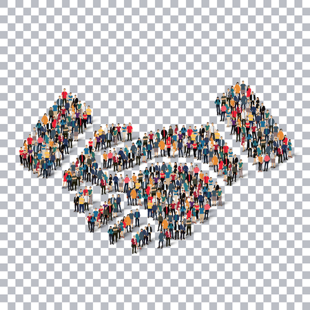 stipulation: Isometric set of styles, handshake , web infographics concept  illustration of a crowded square, flat 3d. Crowd point group forming a predetermined shape. Creative people. - Vector Illustration. Stock vector.3D illustration.Transparency grid .