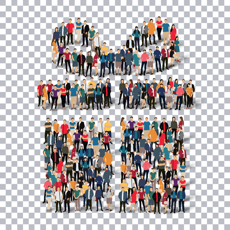 Isometric set of styles, gift  , web infographics concept  illustration of a crowded square, flat 3d. Crowd point group forming a predetermined shape. Creative people. - Vector Illustration. Stock vector.3D illustration.Transparency grid .