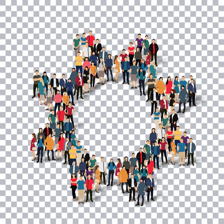 Isometric set of styles, gear  , web infographics concept  illustration of a crowded square, flat 3d. Crowd point group forming a predetermined shape. Creative people. - Vector Illustration. Stock vector.3D illustration.Transparency grid .