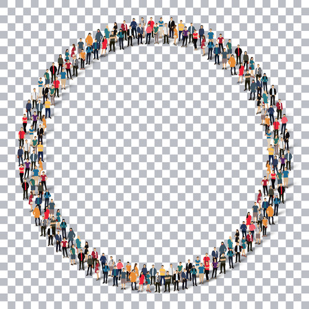 ringlet: Isometric set of styles, circle , web infographics concept  illustration of a crowded square, flat 3d. Crowd point group forming a predetermined shape. Creative people. - Vector Illustration. Stock vector.3D illustration.Transparency grid .