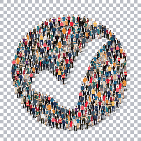 Isometric set of styles, check mark , web infographics concept  illustration of a crowded square, flat 3d. Crowd point group forming a predetermined shape. Creative people. - Vector Illustration. Stock vector.3D illustration.Transparency grid .