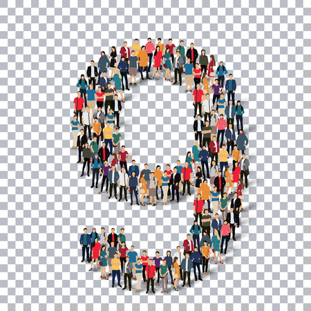 People in the form of number . Transparency grid . 3D  illustration .Vector illustration. Illustration