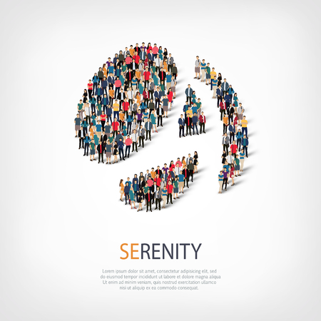 tranquillity: Isometric set of styles, serenity , web infographics concept  illustration of a crowded square, flat 3d. Crowd point group forming a predetermined shape. Creative people. - Vector Illustration. Stock vector.3D illustration.