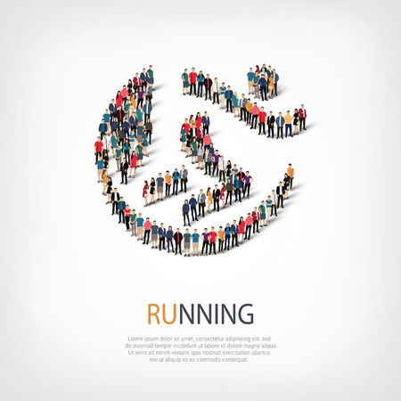 proceeding: Isometric set of styles, running  , web infographics concept  illustration of a crowded square, flat 3d. Crowd point group forming a predetermined shape. Creative people. - Vector Illustration. Stock vector.3D illustration.
