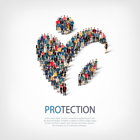 surety: Isometric set of styles, protection  , web infographics concept  illustration of a crowded square, flat 3d. Crowd point group forming a predetermined shape. Creative people. - Vector Illustration. Stock vector.3D illustration.