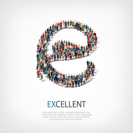 transcendent: Isometric set of styles, excellent , web infographics concept  illustration of a crowded square, flat 3d. Crowd point group forming a predetermined shape. Creative people. - Vector Illustration. Stock vector.3D illustration.