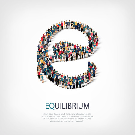 equanimity: Isometric set of styles, equilibrium , web infographics concept  illustration of a crowded square, flat 3d. Crowd point group forming a predetermined shape. Creative people. - Vector Illustration. Stock vector.3D illustration.