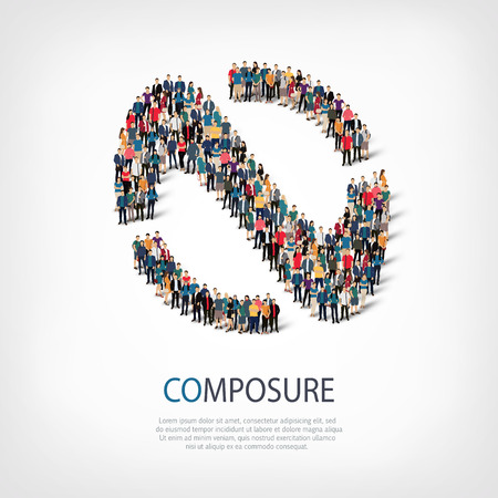 aplomb: Isometric set of styles, composure , web infographics concept  illustration of a crowded square, flat 3d. Crowd point group forming a predetermined shape. Creative people. - Vector Illustration. Stock vector.3D illustration. Illustration