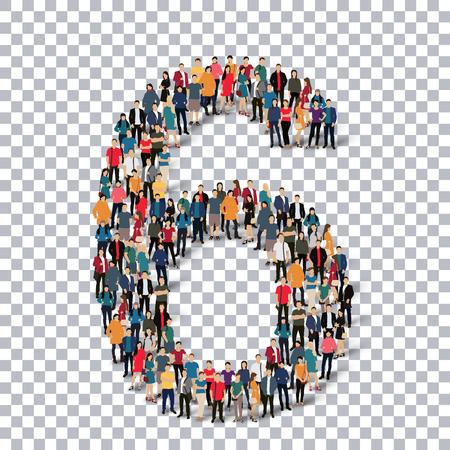 sawed: People in the form of number . Transparency grid . 3D  illustration .Vector illustration. Illustration