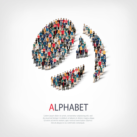 ideograph: Isometric set of styles, alphabet , web infographics concept  illustration of a crowded square, flat 3d. Crowd point group forming a predetermined shape. Creative people. - Vector Illustration. Stock vector.3D illustration. Illustration