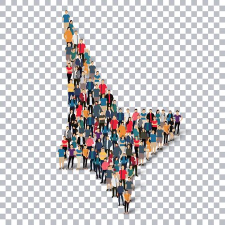 telepathy: Isometric set of styles abstract business symbol web infographics concept illustration of a crowded square, flat 3d. Crowd point group forming a predetermined shape. Creative people.Transparency grid. 3D illustration.
