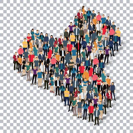 telepathy cards: Isometric set of styles abstract business symbol web infographics concept illustration of a crowded square, flat 3d. Crowd point group forming a predetermined shape. Creative people.Transparency grid. 3D illustration.