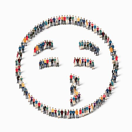 confusing: Isometric set of styles, man, emoticon , smiley ,web infographics concept  illustration of a crowded square, flat 3d. Crowd point group forming a predetermined shape. Creative people.
