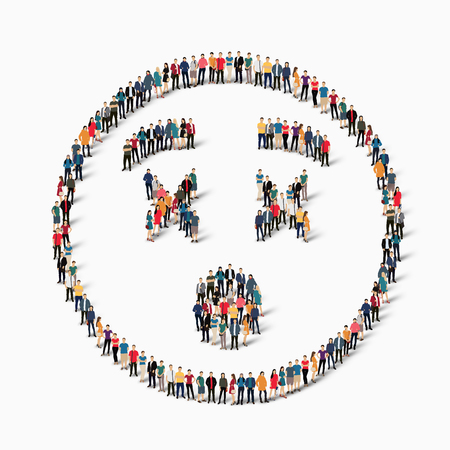 Isometric set of styles, man, emoticon , smiley ,web infographics concept  illustration of a crowded square, flat 3d. Crowd point group forming a predetermined shape. Creative people.