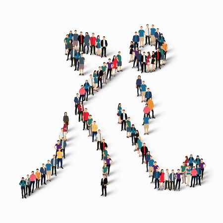 Isometric set of styles, people, sports, hockey , web infographics concept  illustration of a crowded square, flat 3d. Crowd point group forming a predetermined shape. Creative people. White background . Isolated.
