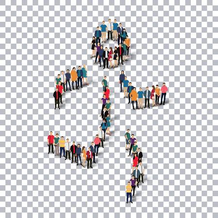 Isometric set of styles, people, sports, running , web infographics concept  illustration of a crowded square, flat 3d. Crowd point group forming a predetermined shape. Creative people. transparent background Stock Photo