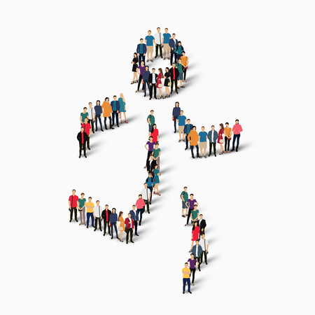 Isometric set of styles, people, sports, running , web infographics concept  illustration of a crowded square, flat 3d. Crowd point group forming a predetermined shape. Creative people. White background . Isolated. Stock Photo