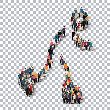 Isometric set of styles, people, sports, figure skating , web infographics concept  illustration of a crowded square, flat 3d. Crowd point group forming a predetermined shape. Creative people. transparent background Stock Photo