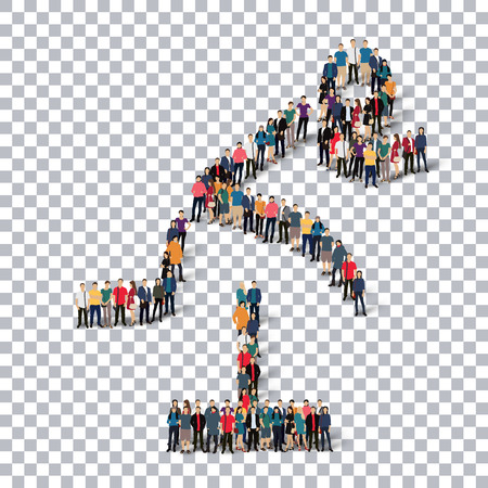 Isometric set of styles, people, sports, hurdles , web infographics concept  illustration of a crowded square, flat 3d. Crowd point group forming a predetermined shape. Creative people. transparent background
