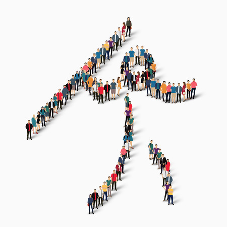 Isometric set of styles, people, sports, javelin , web infographics concept  illustration of a crowded square, flat 3d. Crowd point group forming a predetermined shape. Creative people. White background . Isolated.