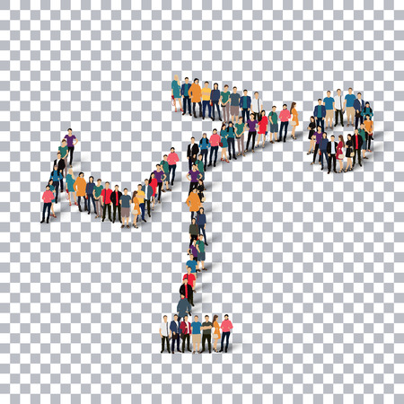busy street: Isometric set of styles, people, sports, figure skating , web infographics concept  illustration of a crowded square, flat 3d. Crowd point group forming a predetermined shape. Creative people. transparent background Stock Photo