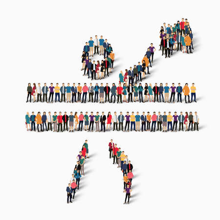 Isometric set of styles, people, sports, volleyball , web infographics concept  illustration of a crowded square, flat 3d. Crowd point group forming a predetermined shape. Creative people. White background . Isolated.