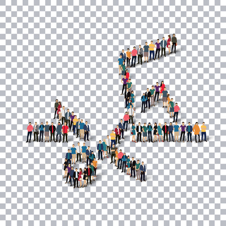 Isometric set of styles, people, sports, high jump , web infographics concept of a crowded square, flat 3d. Crowd point group forming a predetermined shape. Creative people.  illustration. transparent background Stock Photo