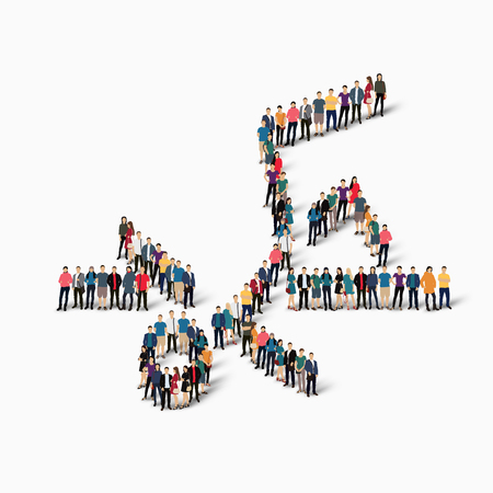 crowded: Isometric set of styles, people, sports, high jump , web infographics concept of a crowded square, flat 3d. Crowd point group forming a predetermined shape. Creative people.  illustration. White background . Isolated.